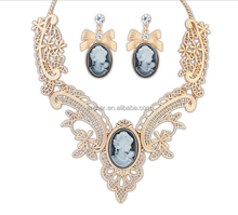 fashion jewelry bowknot and Cameo designed Necklace African Beads Jewelry Set ,bridal jewelry set, Ruili rhinestone jewelry set