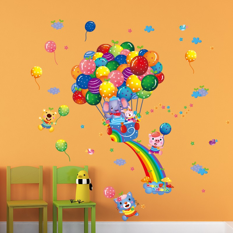 Regenboog Olifant Ballon Dier Cartoon Muurstickers Groothandel ...