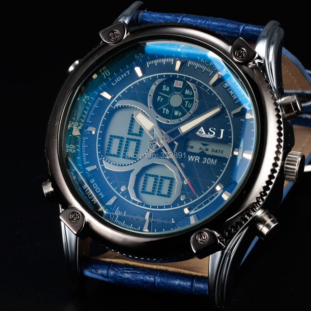 Стильный спорт водонепроницаемые спорт функция часы армейское из светодиодов цифровой кожа ремень мужчины военный до запястья часы