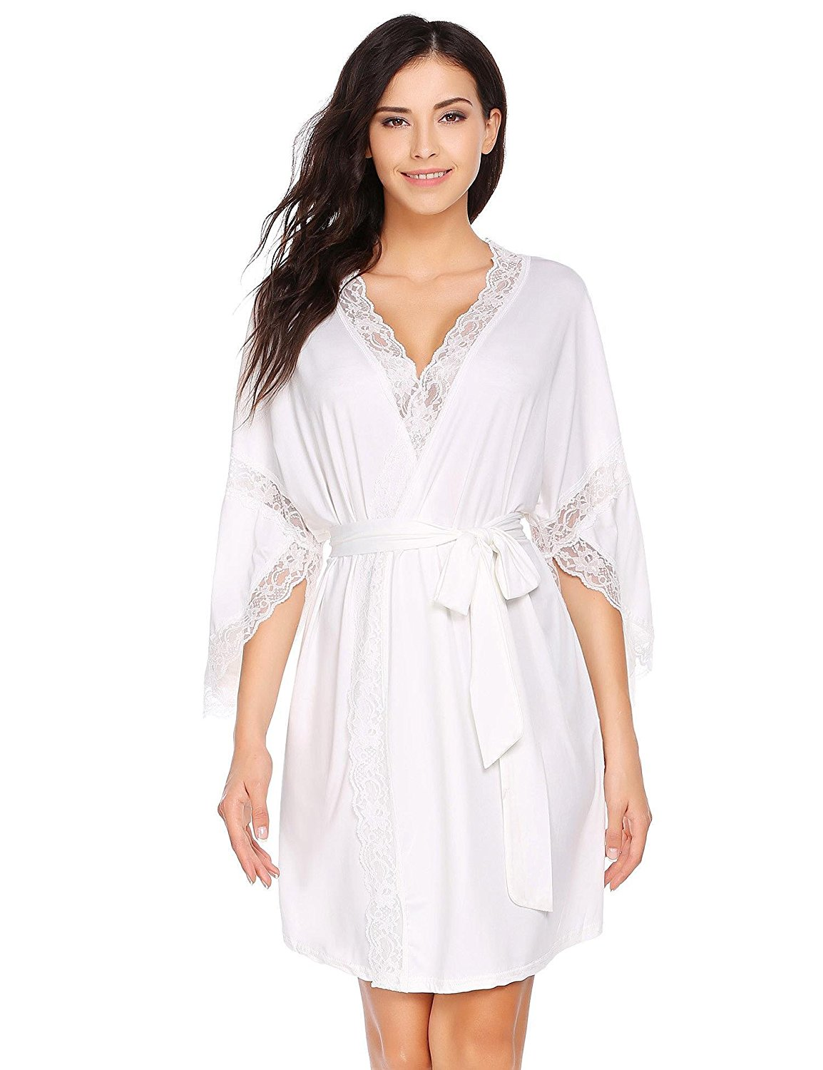 d59b3aa8c2 Get Quotations · Goldenfox Robe Women s Modal Cotton Knit Robe Lace Trim  Nightwear Sleepwear ...