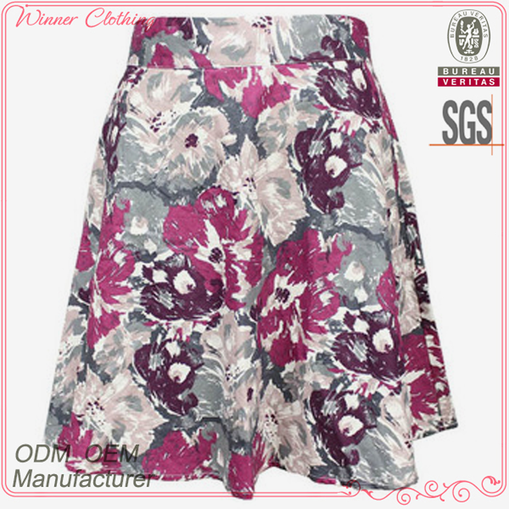 New fashion cotton midi flare skirt with floral print