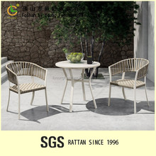 alibaba hot sale foshan supplier marble table white color garden leisure rope chairs outdoor patio furniture