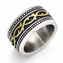 Gold plated stainless steel finger rings antique design