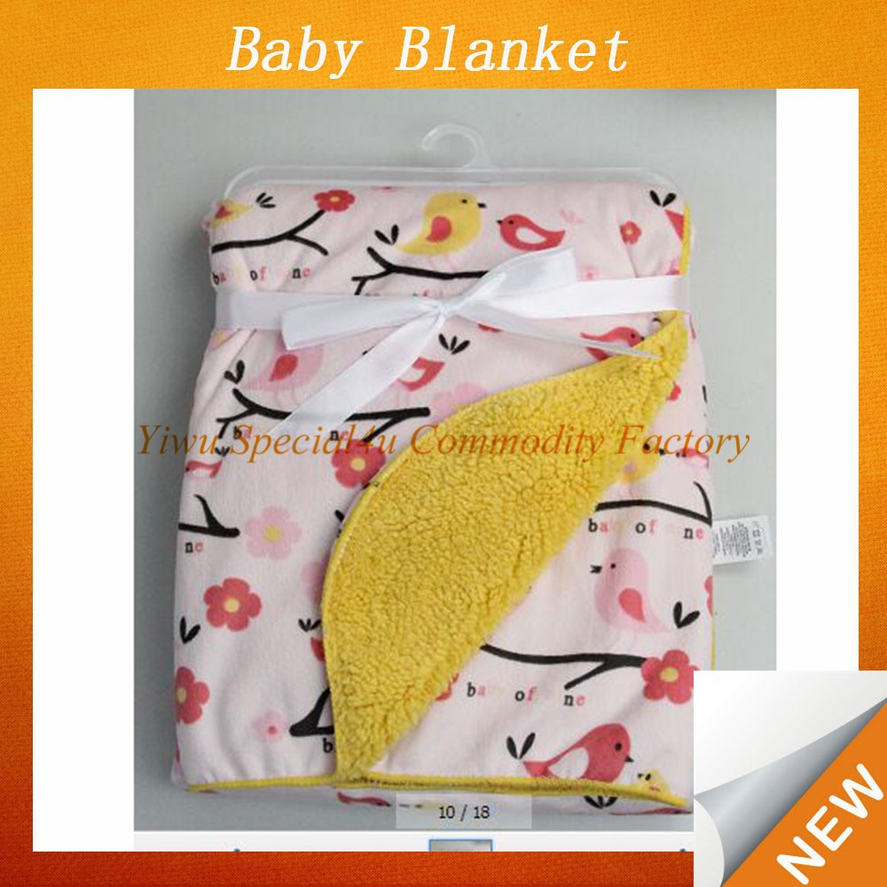 Polar fleece baby blankets cute birds design pink cotton baby knitted blanket Lyd-1011
