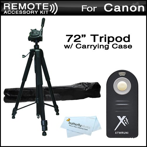 Replacement RC-6 Wireless Shutter Release Remote Control For Canon Digital Rebel T5i, T4i, T3i, 5D, 7D, EOS 70D Canon EOS 7D Mark II DSLR (Canon RC-5 RC-6 Replacement) + 72 Tripod w/Case For The Tripod