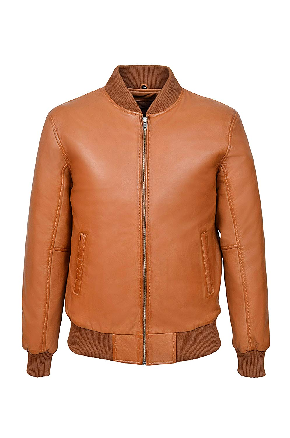 Smart Range 70's Classic Bomber Men's Tan Plain Napa Wax Biker Style Italian Fitted Real Leather Jacket 275P