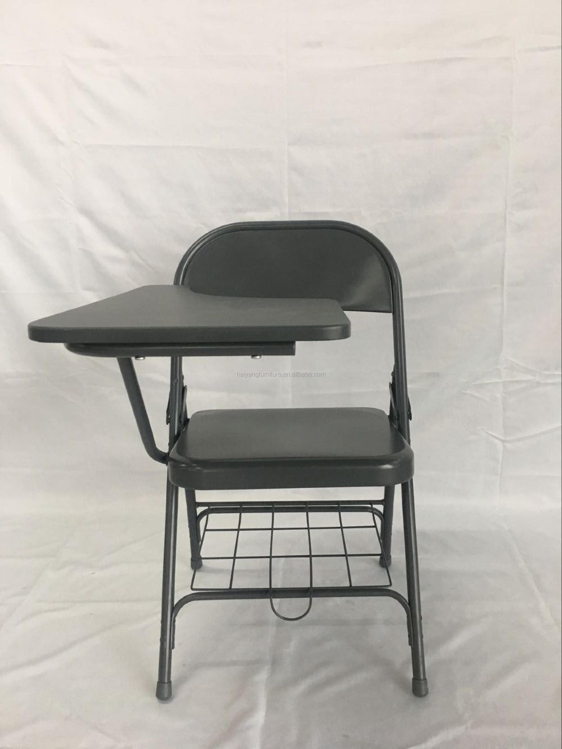Folding Metal Student Chair Iron Study Chairs With Wooden Writing
