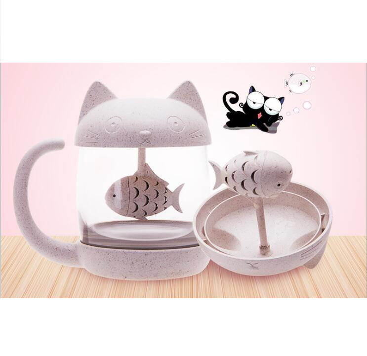 Double Wall Glass Cup with Tea Strainer Infuser Handle Cartoon Cat Monkey Glass Drinking Cup Birthday Gifts coffee cup