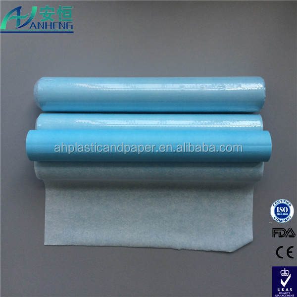 Anheng brand couch roll Medical Non-woven Table Paper Roll PE coated bed sheet table paper roll