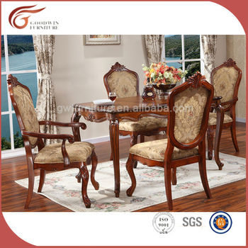 Italian Style Dining Room Furniture Hand Carved Wood Table With 6 Chairs A106