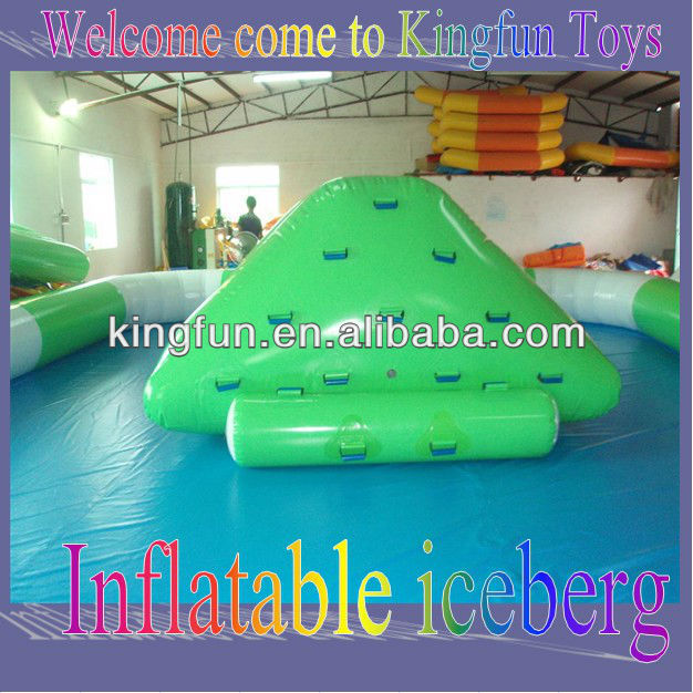 Kids inflatable ice rocking hill/water iceberg in green