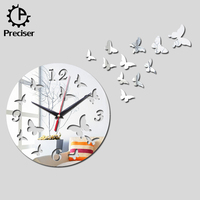 Acrylic 3D Decorative Art Design Butterfly Mirror Wall Sticker Clock For Home Decoration