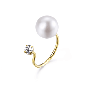 Korean and Japanese Style Open 925 Sterling Silver Ring CZ Pearl