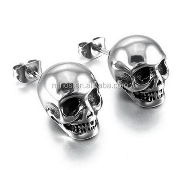 High Polished Skull Earrings Men S Stainless Steel Stud Silver Gothic