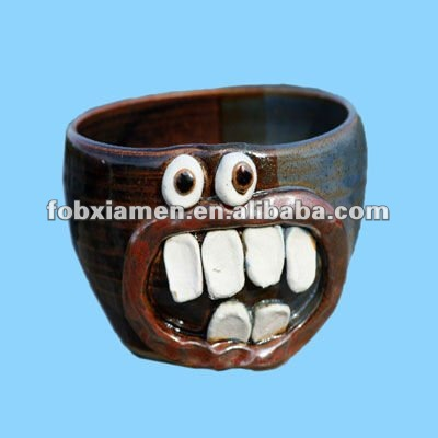 Ceramic Clay Novelty Face Cool Cereal Bowls