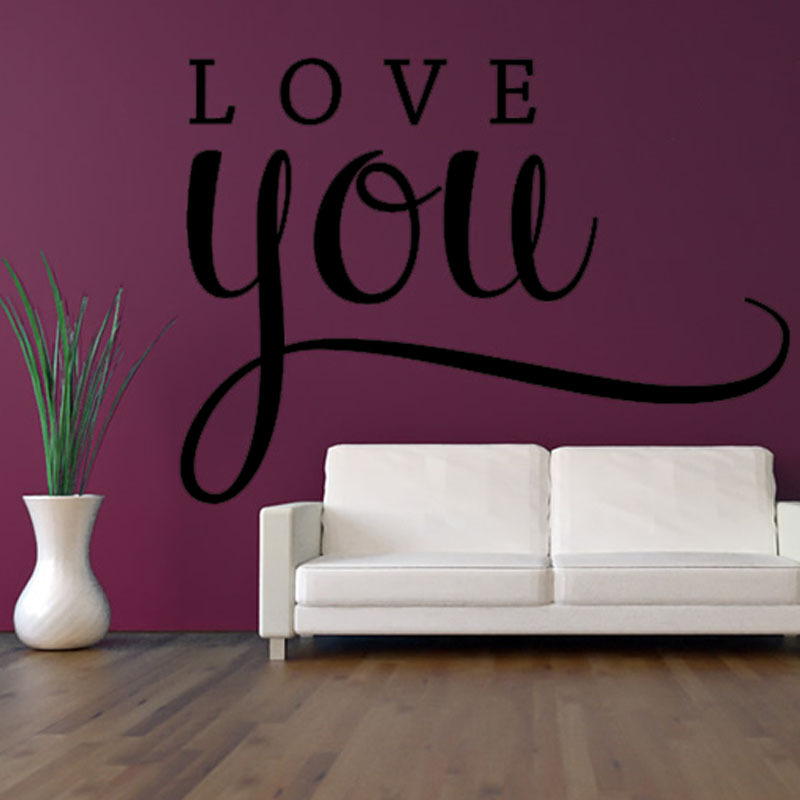 Simple Design Love You Words Wall Sticker DIY Removable Waterproof Home Decor Vinyl Wall Decal Wholesale