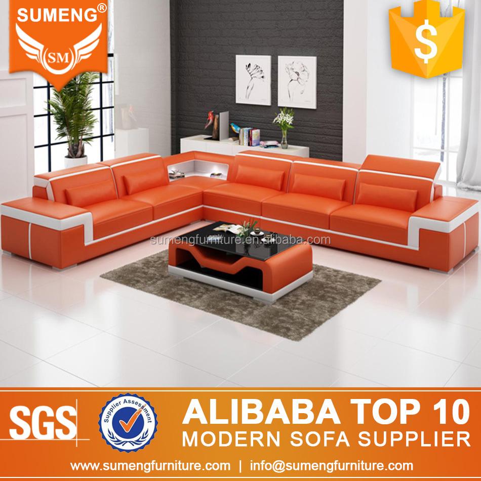 Latest Living Room Furniture Orange And White Corner Sofa Set Designs With Low Price
