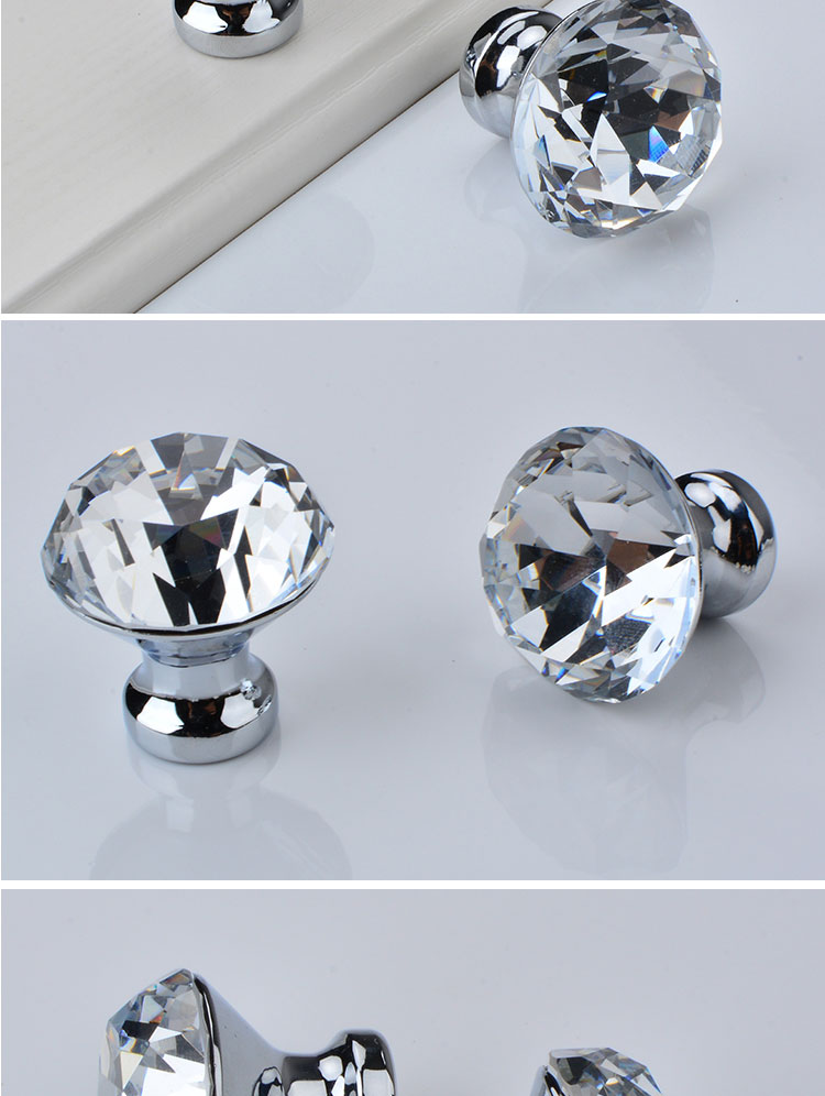 Wholesale Cabinet Cupboard Door Handles Crystal Knobs  Colorful Crystal Glass Door Knob Diamond Cabinet Furniture Drawer Handle