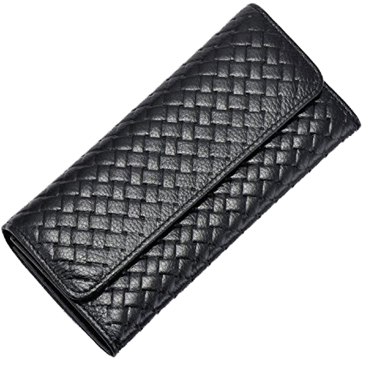 Women simple genuine leather wallet with woven pattern