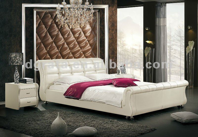 2012 New Design Modern Bed With Thin Genuine Leather And Match Up With Two  Night Stand. New Design Beds
