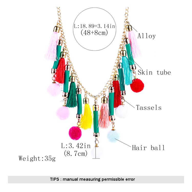 9316579df0f 2018 Fashion Pom Pom Balls PU Leather Bib Bali Tassel Statement Necklaces For  Women