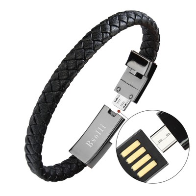 Top Quality 20cm Leather Braided Bracelet Data Charging Line USB Cable For <strong>Apple</strong> For Android For Type C