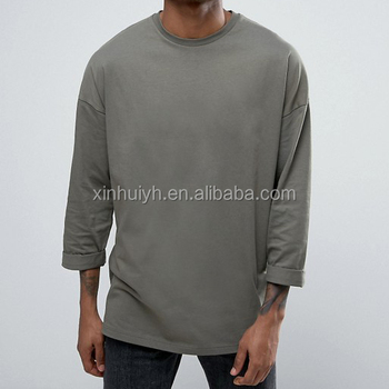 99d7170c62d4 Oem Drop Shoulder Plain Oversized Long Sleeve T-Shirt With Roll Sleeve  Fashion Tee