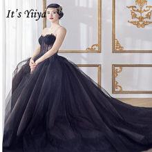 Женское свадебное платье без бретелек It's YiiYa, черное фатиновое платье со шлейфом, для путешествий и фотосессии, модель G047, 2019(China)