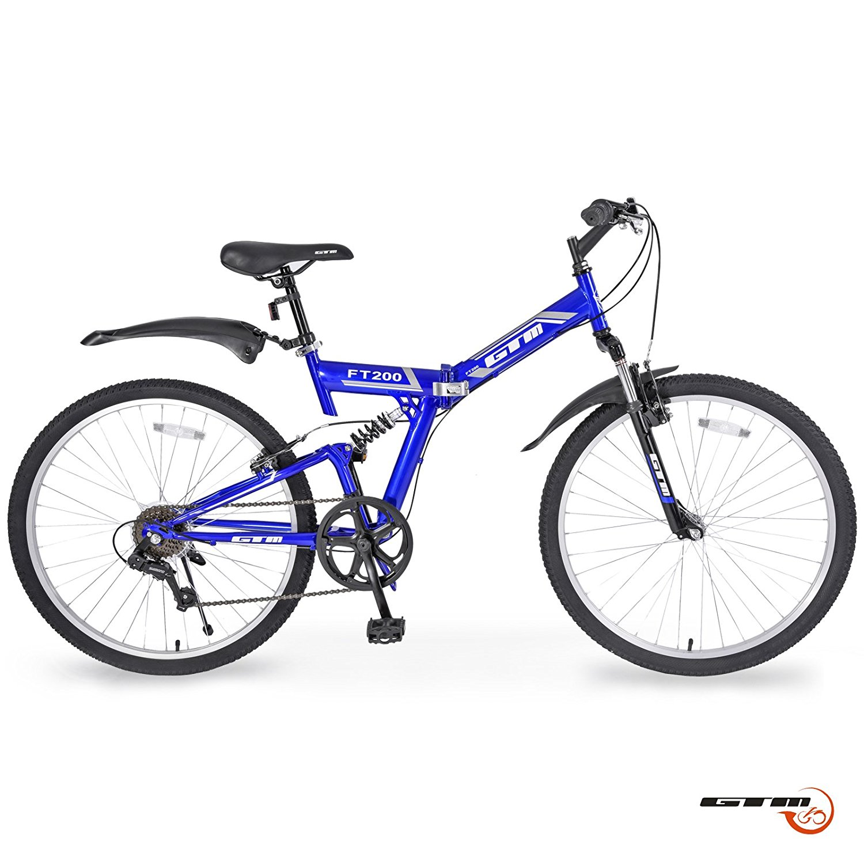 "GTM 26"" 7 Speed Folding Mountain Bike Bicycle Shimano Hybrid Suspension MTB"