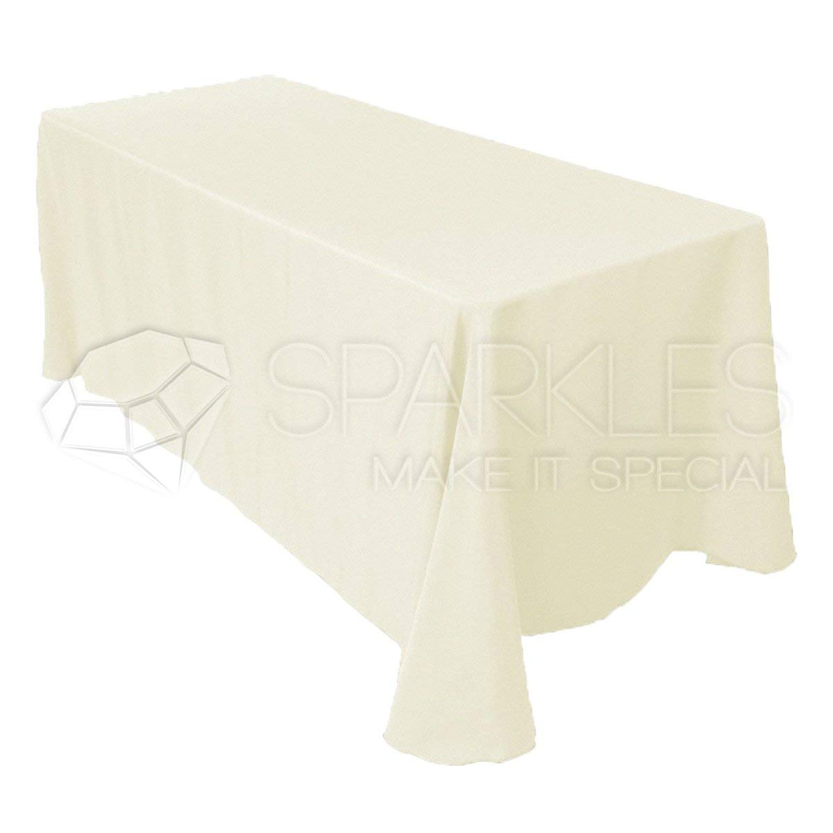"Sparkles Make It Special 10-pcs 90"" x 156"" Inch Rectangular Polyester Cloth Fabric Linen Tablecloth - Wedding Reception Restaurant Banquet Party - Machine Washable - Choice of Color - Ivory"