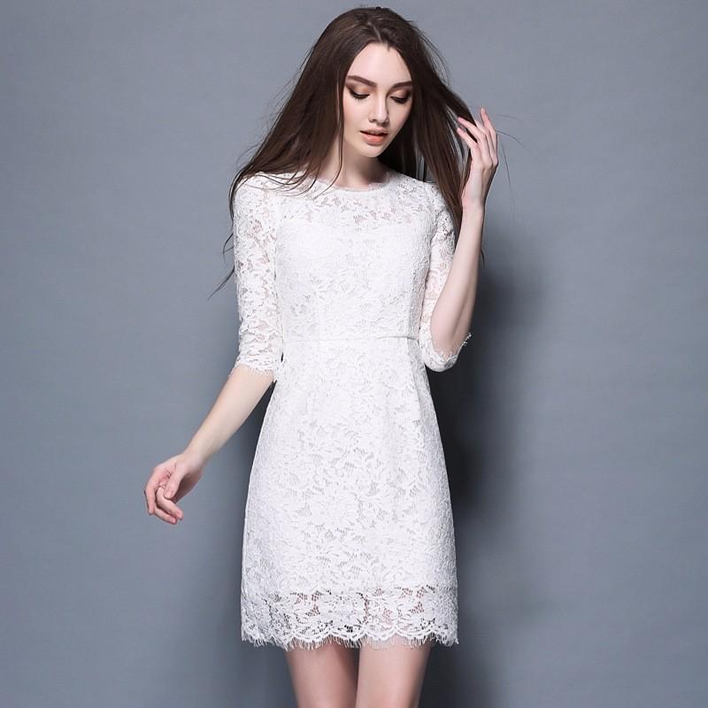 500fbd6d4 Moda europea 2017 primavera maxi tamaño 3 4 mangas elegante cintura de encaje  blanco vestido