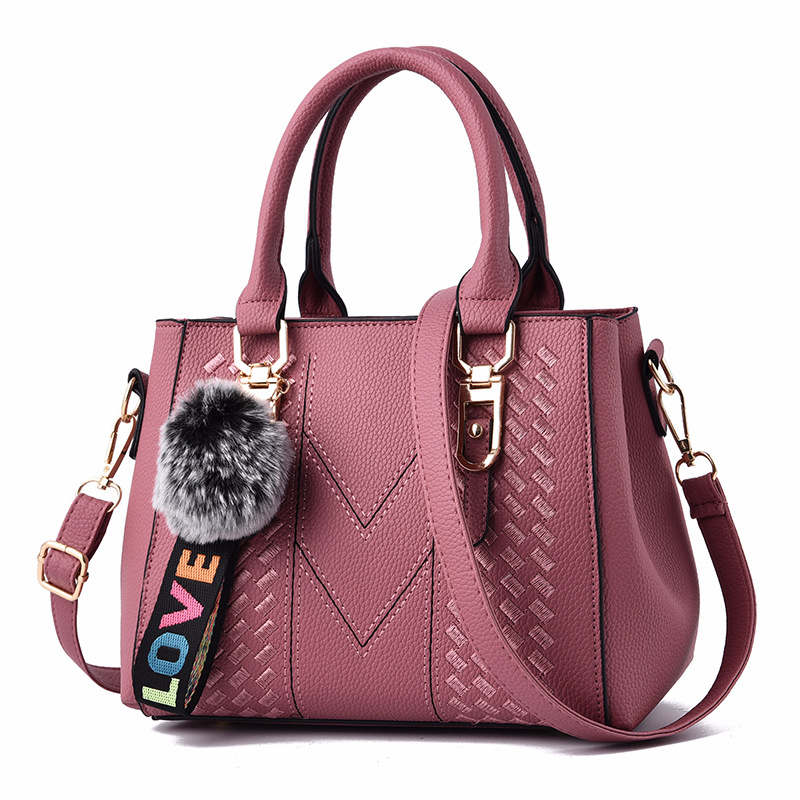 pu leather weave handbag sewing thread soft surface 2018 new design tote handbag for <strong>women</strong> with large capacity