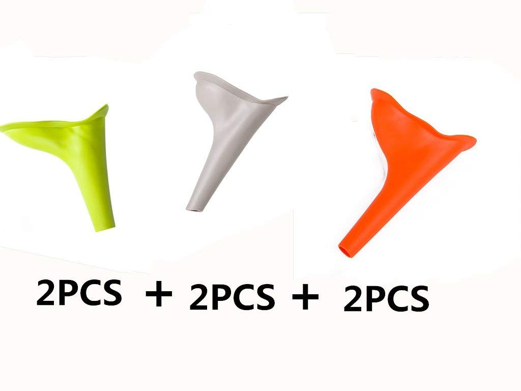 Urinal Funnel Female Urination Device Lightweight Plastic Portable Travel Urinal for Male & Female Reusable Portable Camping Car 2Pcs Gray+ 2Pcs Green+2Pcs Orange