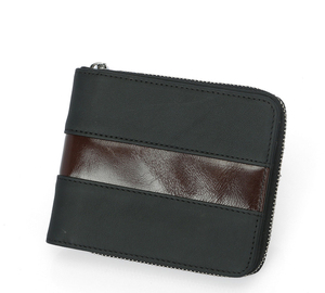 Men's Genuine Leather Short Zip-around Bifold Wallet with Zip Coin Pocket Credit Card Case Wallet