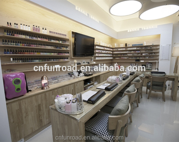 Wooden Nail Salon Store Equipment With Reception Counter Desk And