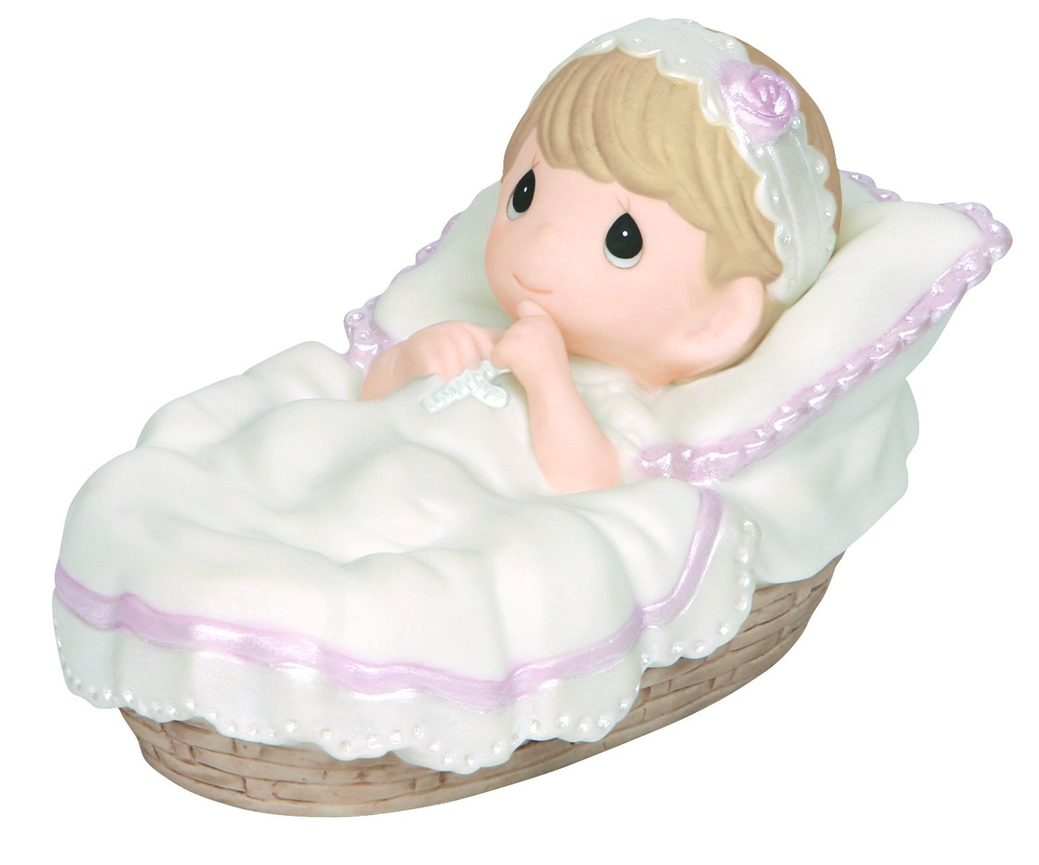 """Precious Moments, Baptism Gifts, """"Baptized In His Name"""", Girl, Bisque Porcelain Figurine, #143011"""