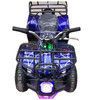 Blue little bull electric atv quad bike on land and ice