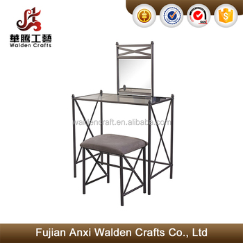 Metal Bedroom Vanity Set With Glass Top Vanity Dressing Tables - Buy Vanity  Set,Metal Vanity Set,Bedroom Vanity Set Product on Alibaba.com