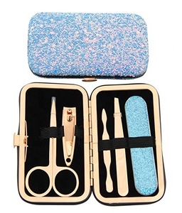 Stainless steel small blue travel manicure set