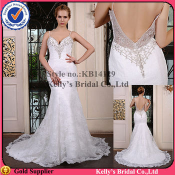 2014 Best Selling Sexy Low Back Beaded Pleated Wedding Dress Patterns Free