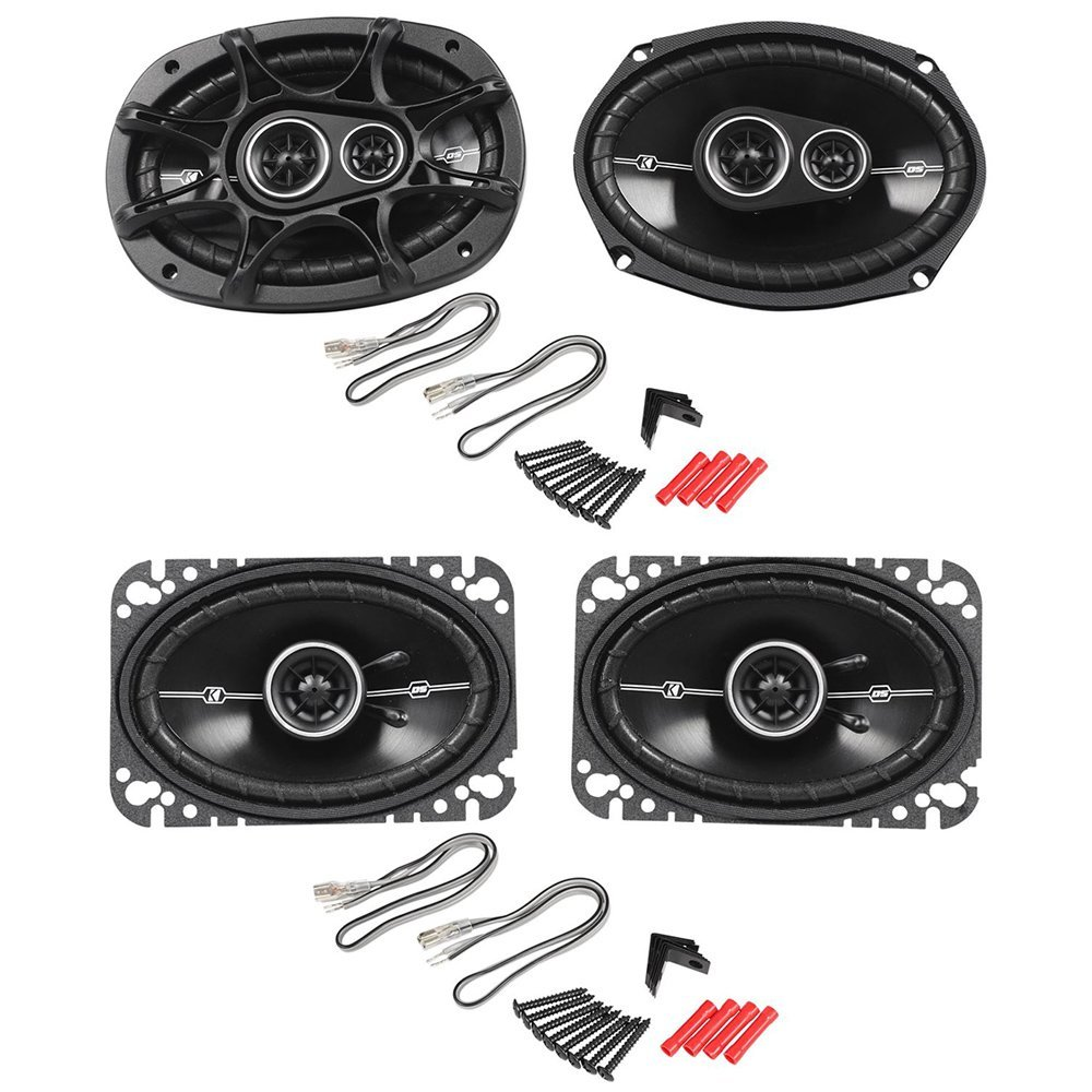 "Package: Pair of Kicker 41DSC464 4x6"" D-Series 2-Way Car Speakers Totaling 240 Watt Peak/60 Watt RMS + Pair of Kicker 41DSC6934 6x9"" D-Series 3-Way Car Speakers Totaling 720 Watt Peak/180 Watt RMS"