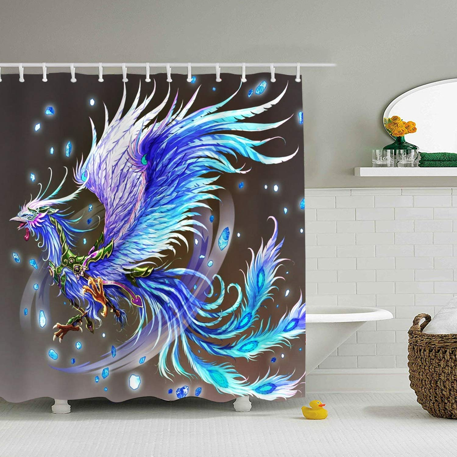Get Quotations EFLN Shower Curtain Polyester 65 X 71 Awesome Phoenix Mildew Resistant Waterproof Bathroom Curtains