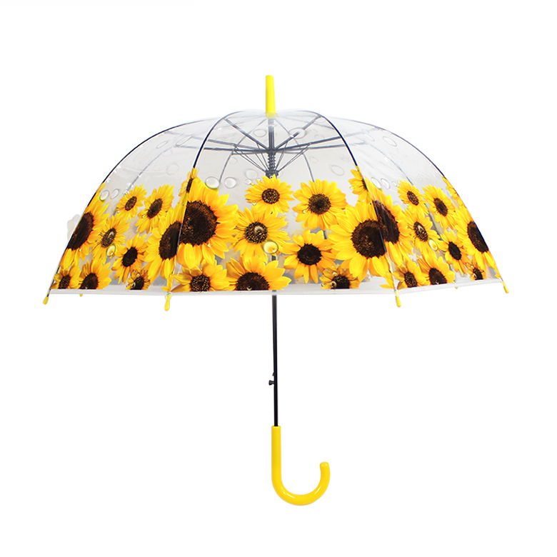 Custom made transparent clear POE yellow flower umbrella with sunflower printed