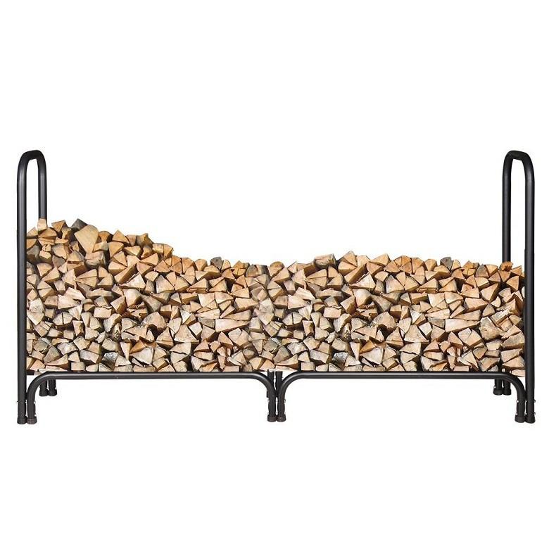 Indoor Log Rack Black Iron Firewood Storage Rack With