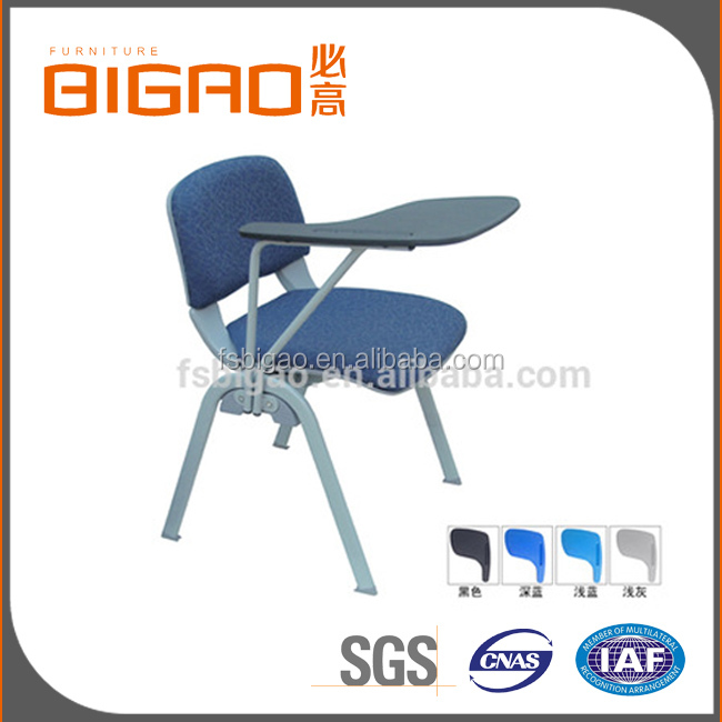 Hot Sale Good Quality Padded Seat Training Room Conference Training Chair With Writing Table Arm Folding Down