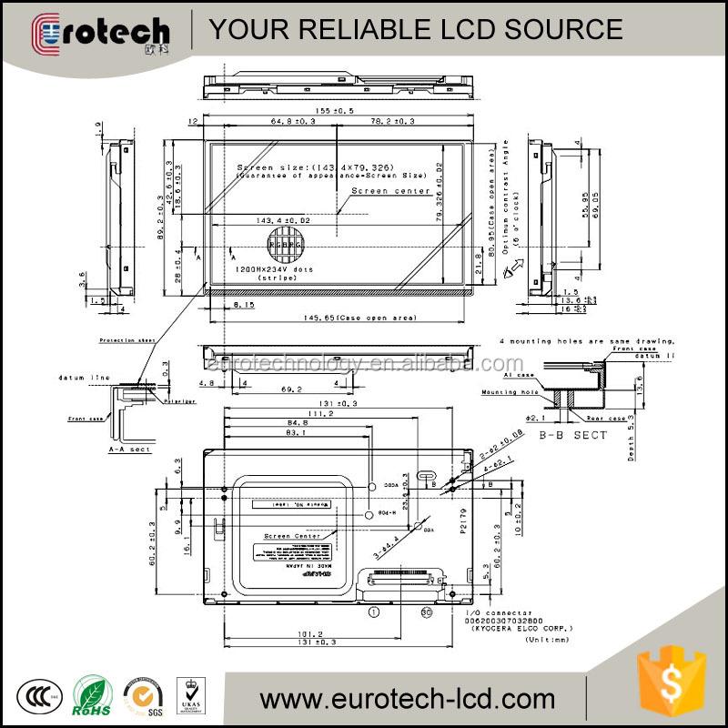 Sharp LQ065T5AR03 LCD display per Mercedes benz W211/E320