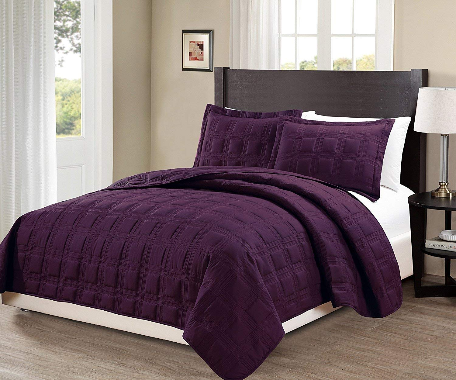 Fancy Collection 3pc Full/Queen Oversize Quilted Embroidery Bedspread Coverlet Set Solid Dark Purple New