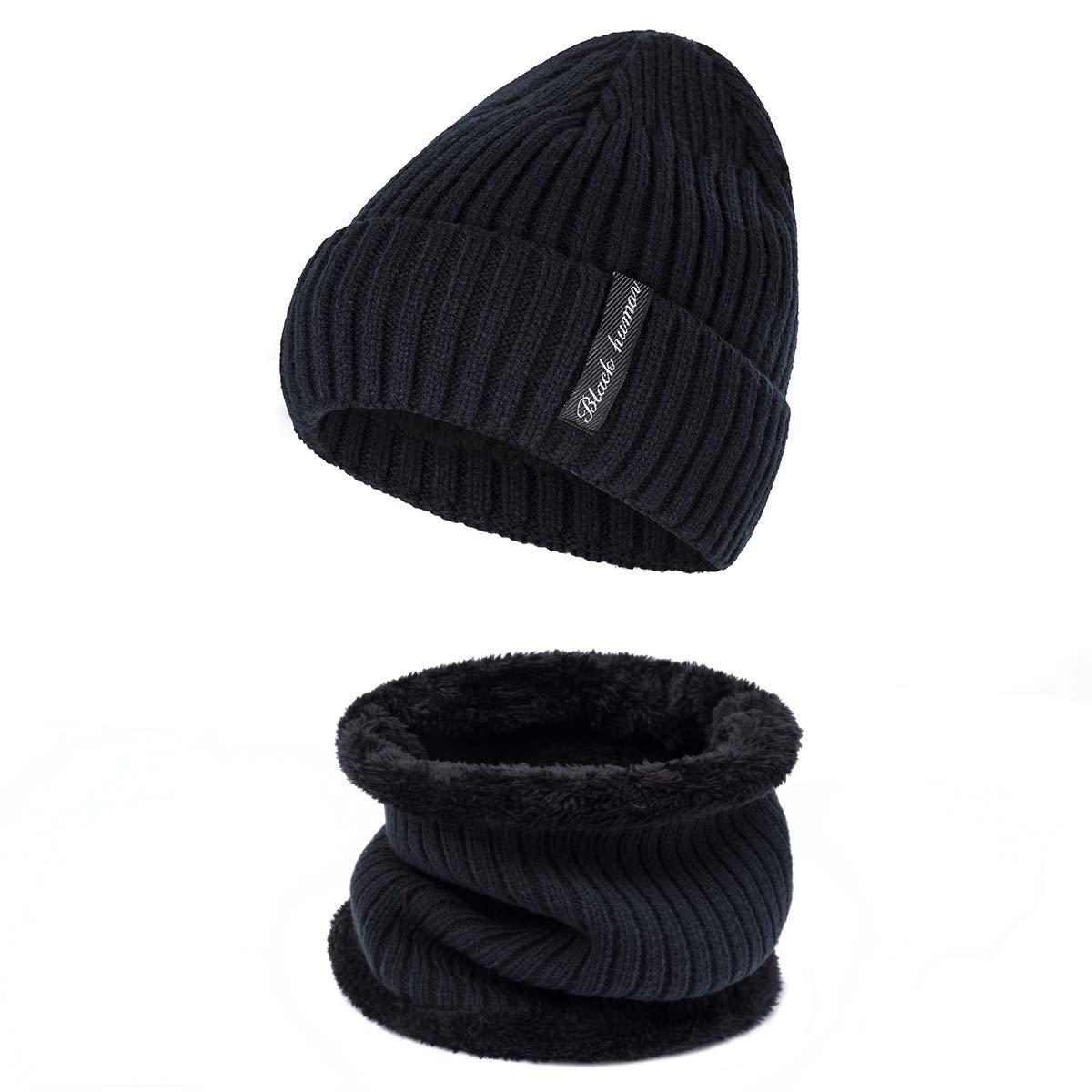 9903b74f913 Get Quotations · Hat Scarf Set yeabiu Unisex Winter Beanie Slouchy Warm  Knit Hat and Infinity Scarf Warm Soft