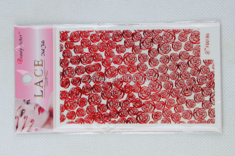 Lucky Red Rose DIY lace silver nail wraps/nail art
