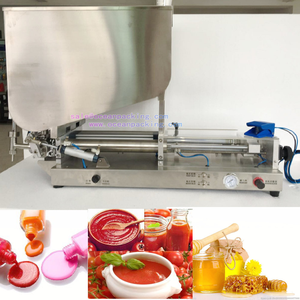 2 heads pneumatic filling machine with hopper 5-5000ml